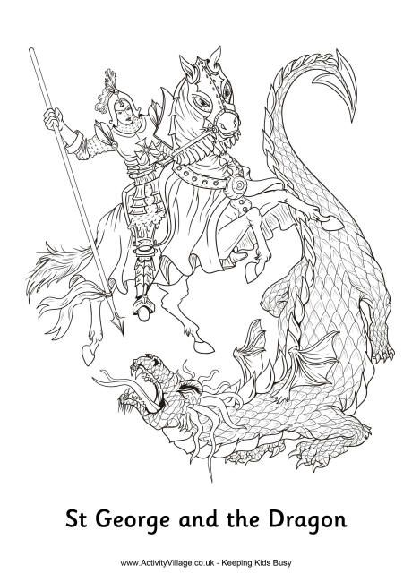 St George And The Dragon Colouring Page Saint George And The