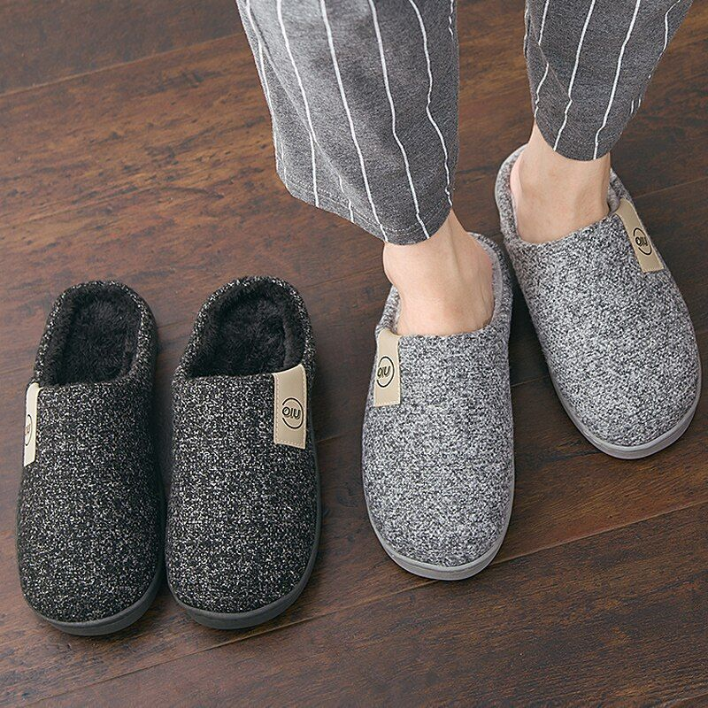 Mens Non-slip Slip On Indoor Warm Down Cotton Slippers Casual Womens Home Shoes