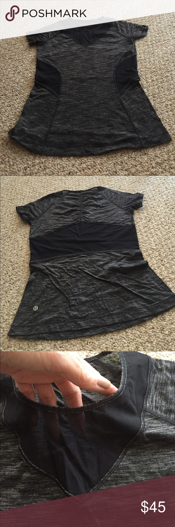 Lululemon shirtsleeve top with mesh inlays Lululemon shirtsleeve black/grey v neck top with black mesh inlays. Wore 1x. Literally BRAND NEW! No TRADES! lululemon athletica Tops