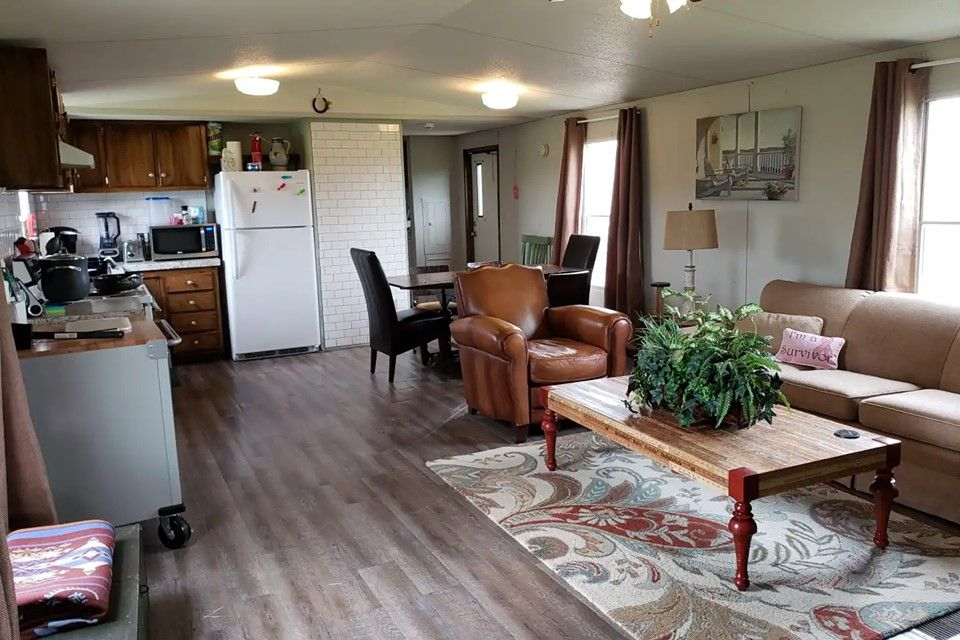 Our trailer is a basic, clean, and comfortable place to