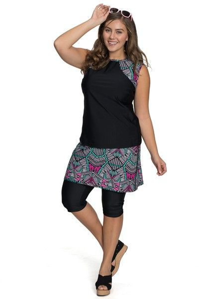 56d32d8085ac6 Looking for the perfect full coverage bottoms for swim and sport? Our Amphi  Spirit Athletic Skirted Capris is available in gorgeous Tribal Print!