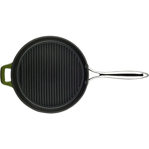 La Cuisine 12 Round Cast Iron Grill Pan With Enamel Finish Green Cast Iron Grill Pan Cast Iron Grill Grill Pan