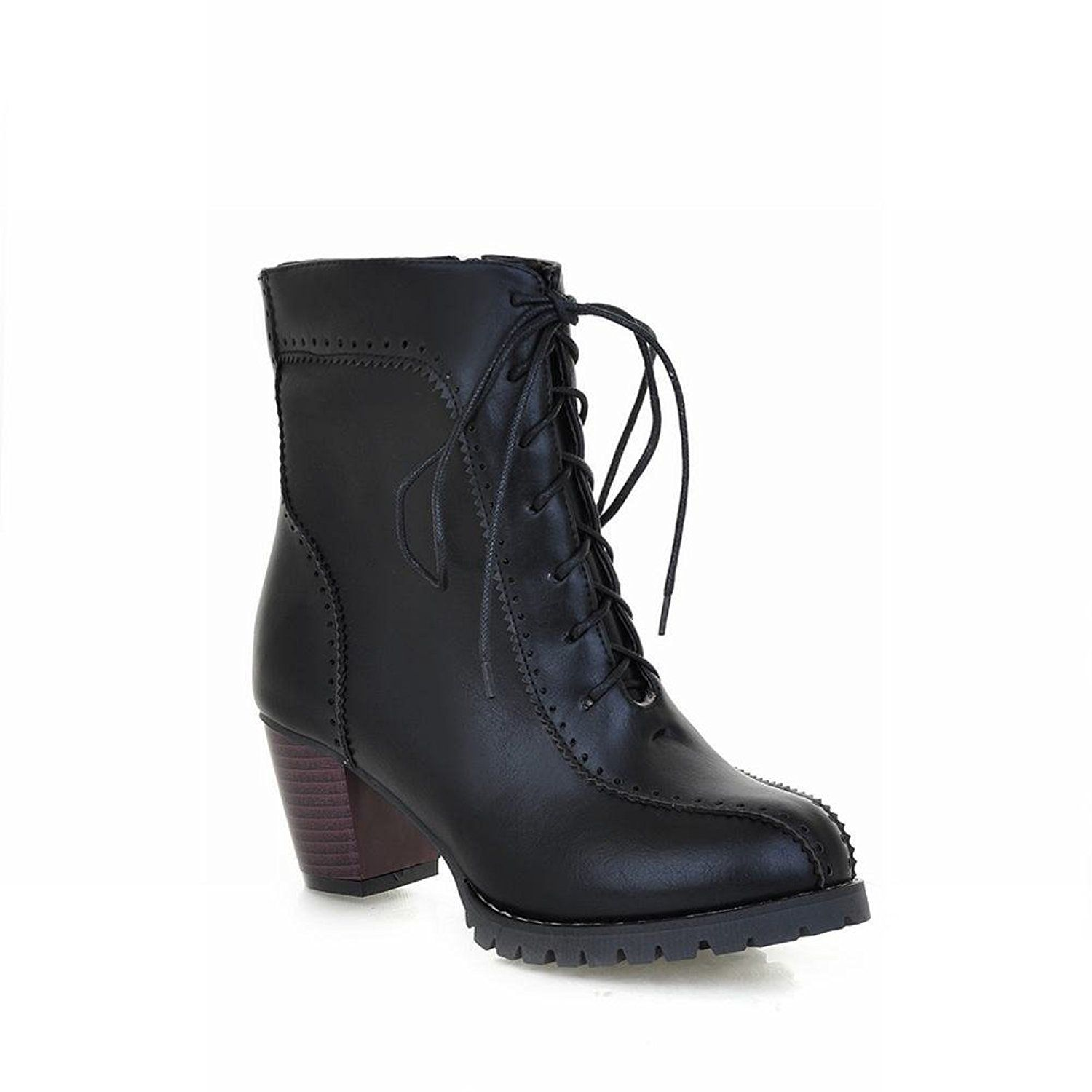 Latasa Women's Round Toe Lace up Ankle Bootie on Chunky Heels,zips Side Leather Boots ** See this great product.