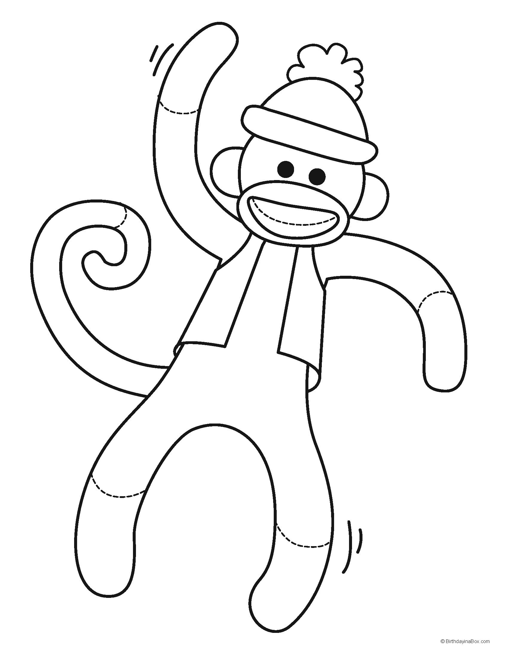Coloring Page Monkey Coloring Pages Sock Monkey Sock Monkey Party