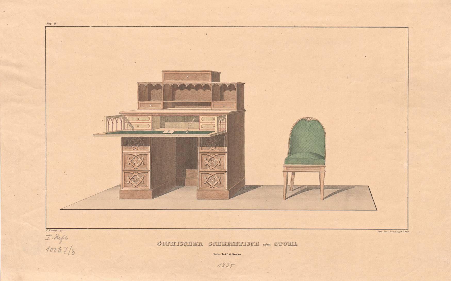 """Schreibtisch gezeichnet  Gotischer Schreibtisch nebst Stuhl"""", Blatt 6 aus dem 1. Heft der ..."""