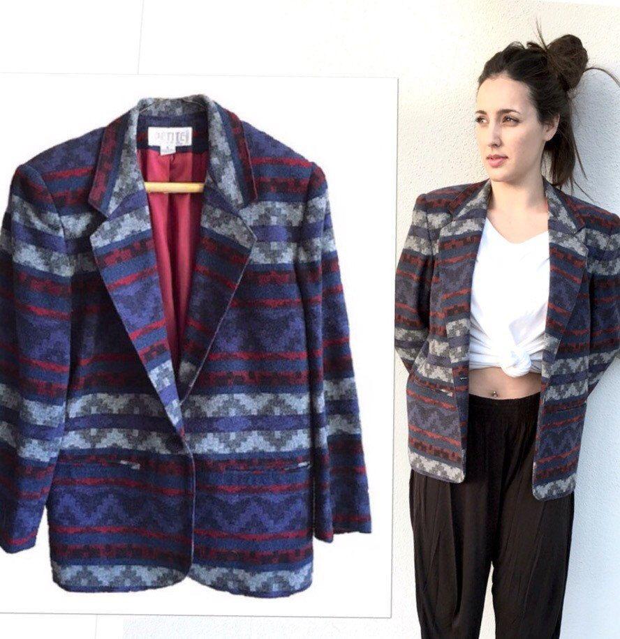 Vintage Aztec Wool Blazer Jacket by Petite Sophisticate 90s v-neck rad 6  oversized mens womens pendleton look of pattern earth tones by VELVETMETALVINTAGE on Etsy