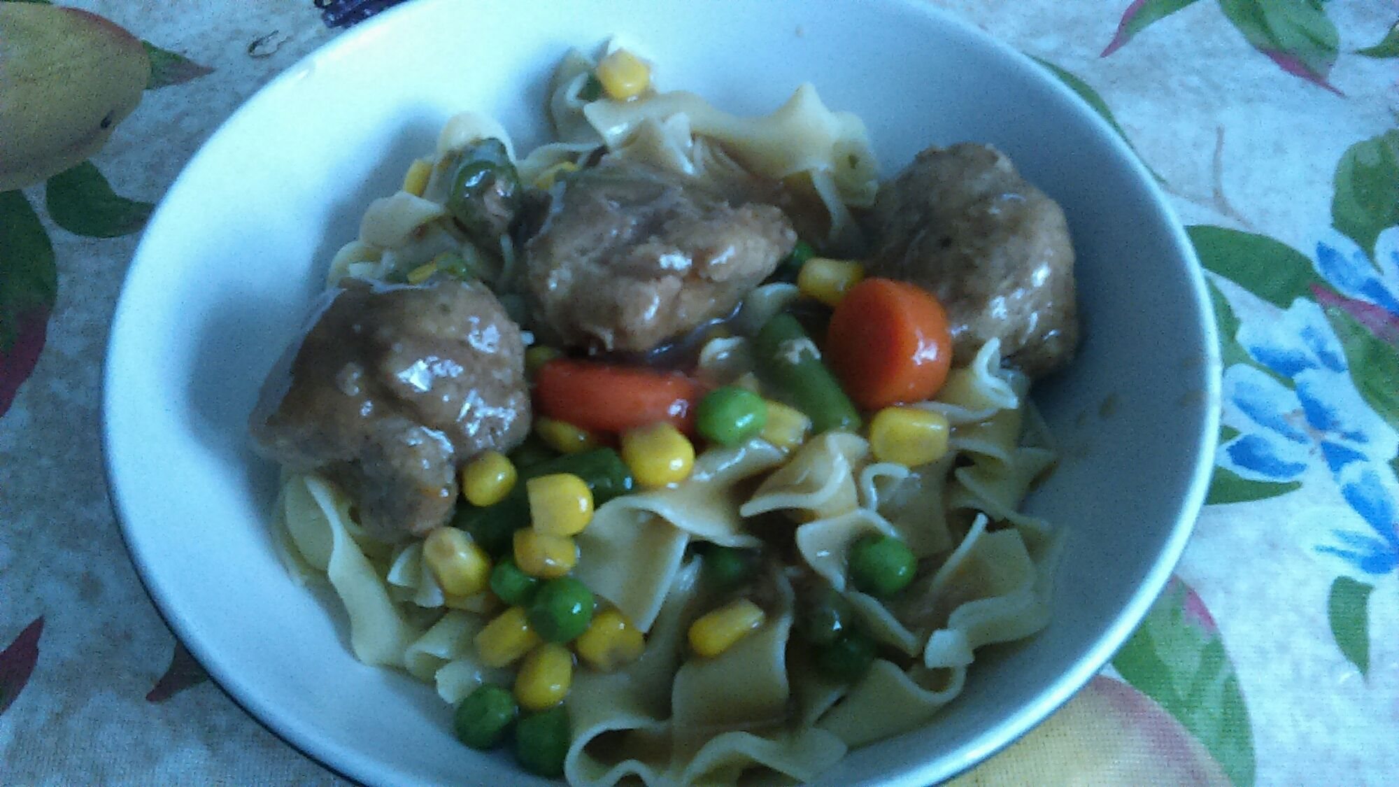 Meatball Stew and Noodles