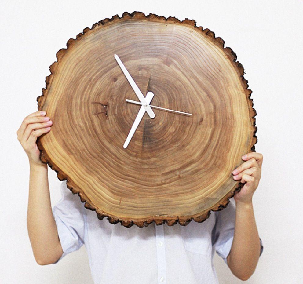 Horloge 11 12 polegadas horloge murale bois naturel horloge murale int rieure et m nagers for Horloge murale bois moderne