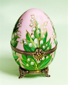Limoges Faberge Style Swan with Lilly of the Valley Egg Box The Cottage Shop