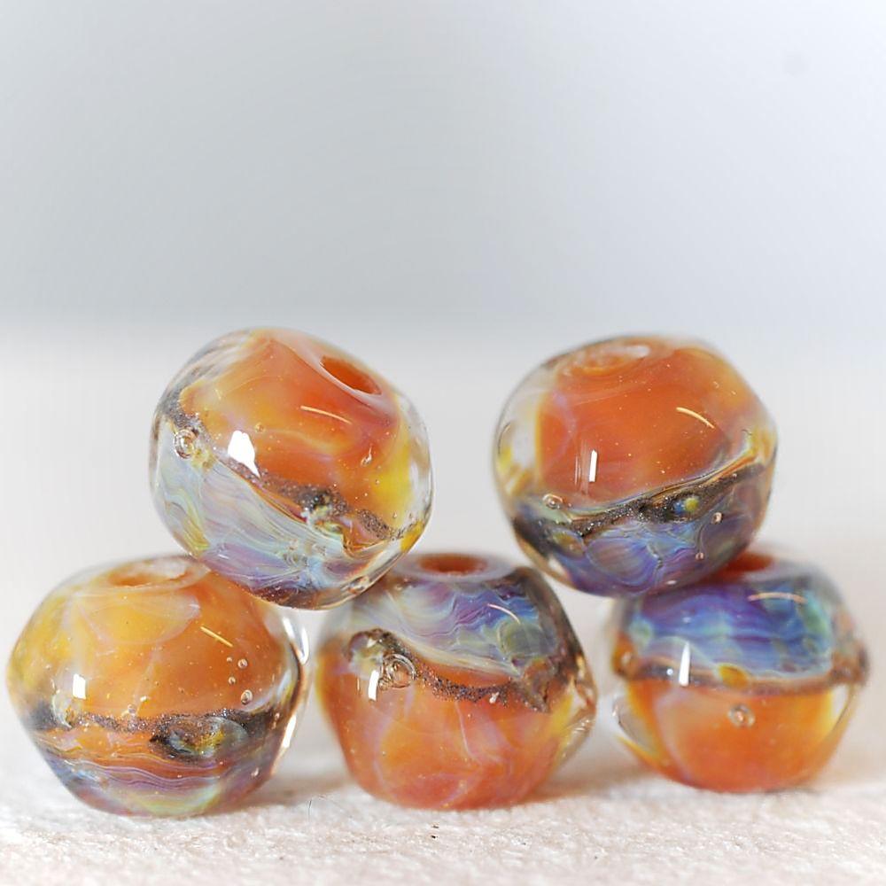 Borosilicate lampwork glass beads Honey silk