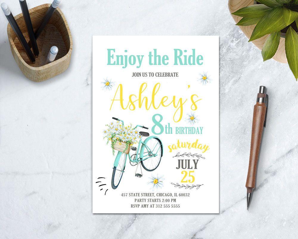 Bicycle Invitation, Outdoor Birthday Invitation, Vintage Bicycle ...