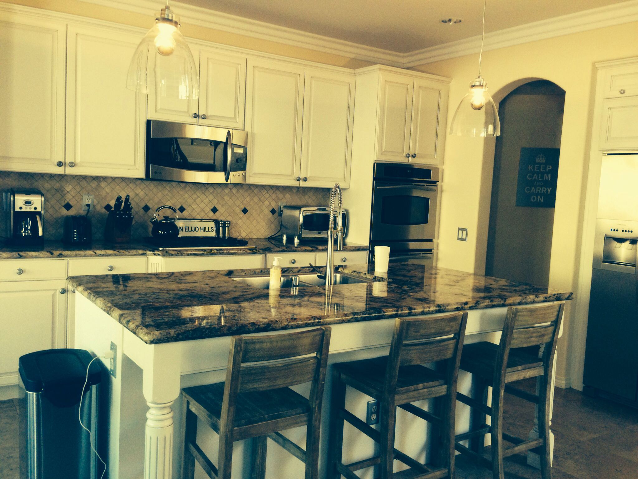 Best Re Painted Our Original Chestnut Brown Cabinets To A 400 x 300
