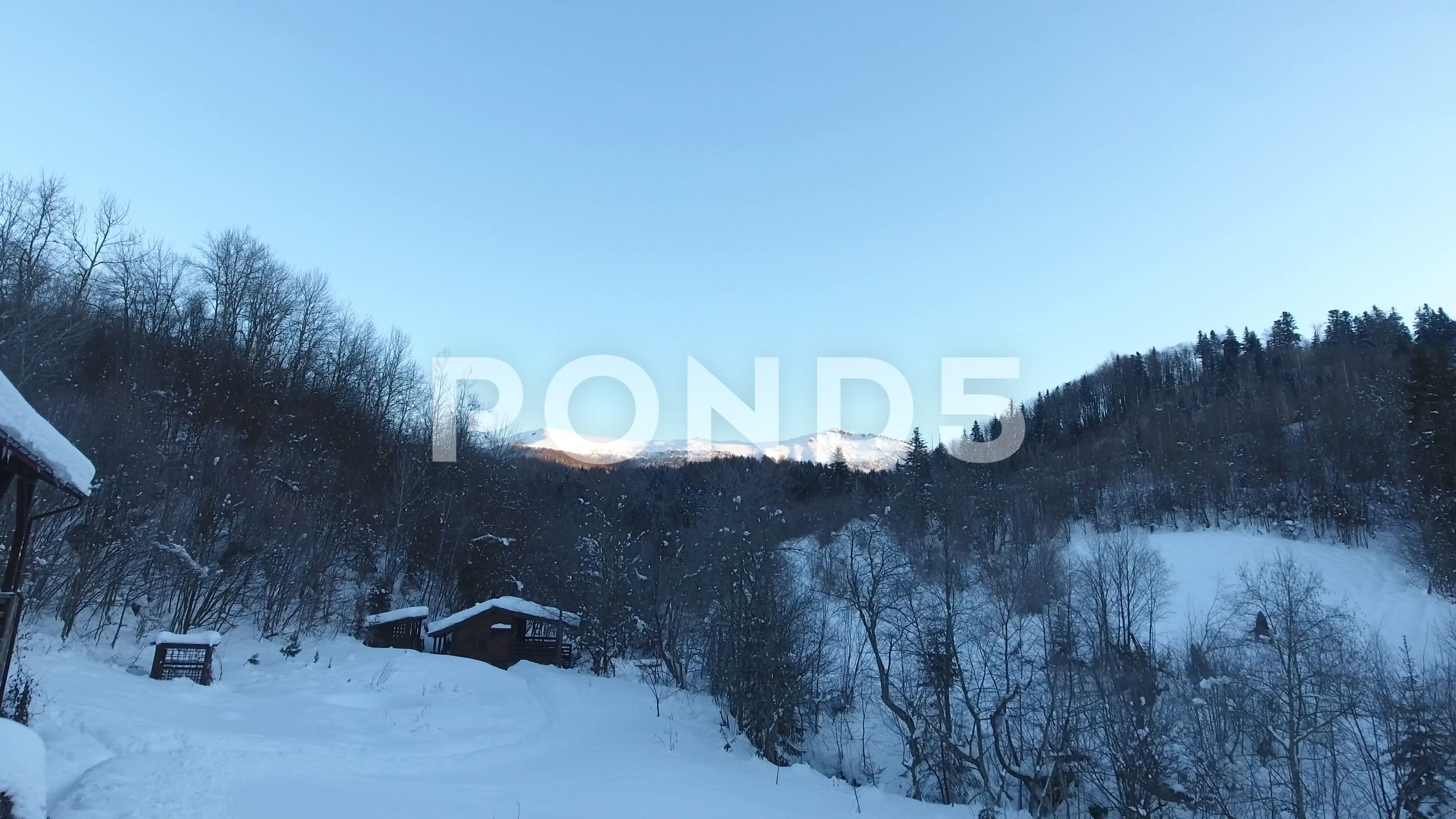Mountain Pikuy Ukraine Winter Snow Landscape Aerial View Fly Over Sunset Dusk Stock Footage Winter Snow Landscape Mountain Aerial View Winter Snow Aerial