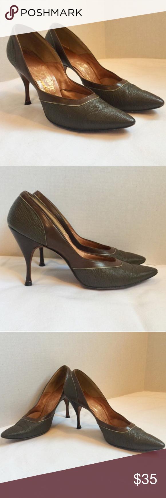 Vintage 50s Johansen Lewis Designs Two Tone Patent Heels Pumps Shoes 6.5 Narrow