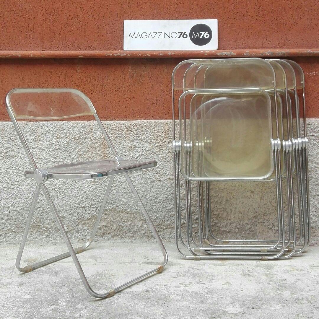 Sedia pieghevoli Plia struttura in acciaio cromato seduta e ...