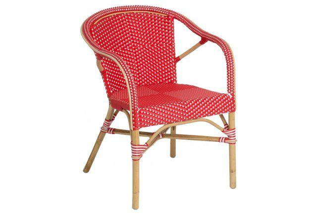 Madeleine Outdoor Bistro Armchair, Red