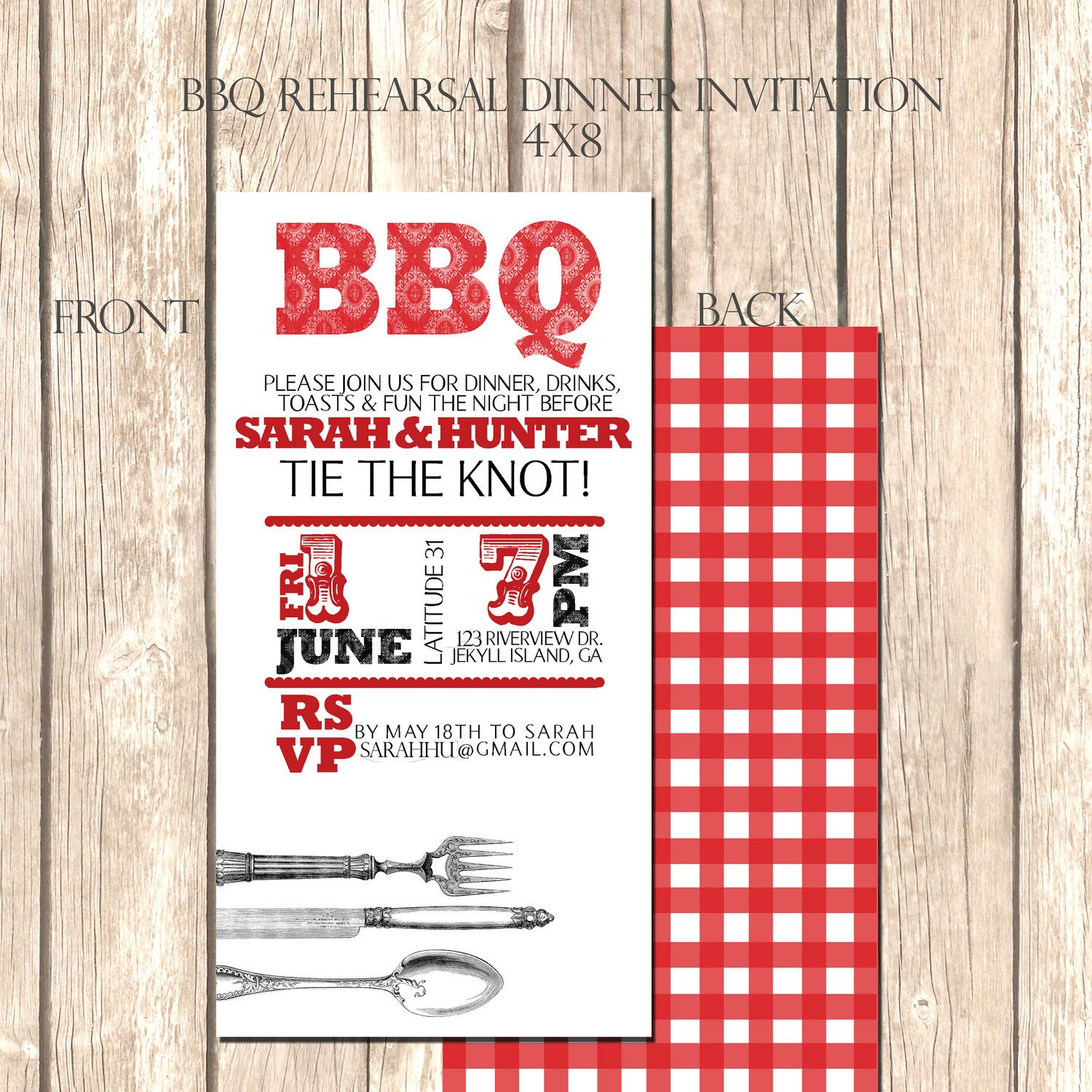 BBQ Rehearsal Dinner Invitation--25 4x8 Red Checkered Dinner ...