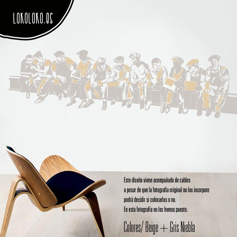 #Vinilodecorativo de unos obreros sentado sobre una viga / #Walldecal of workers sitting on a beam