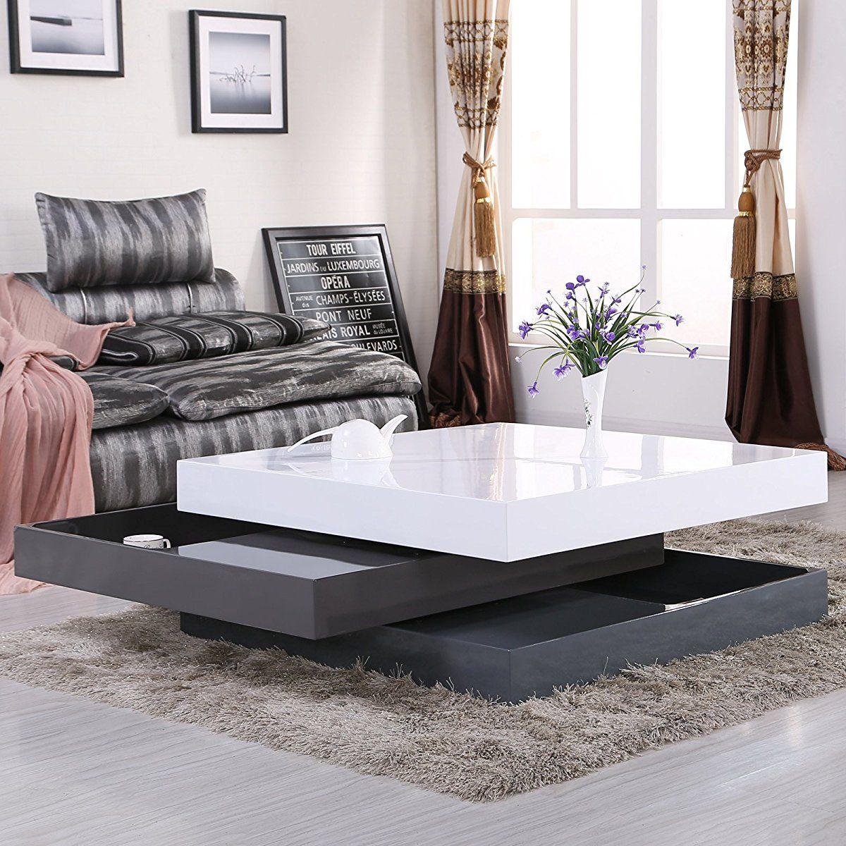 Uenjoy High Gloss Square Storage Rotating Coffee Table W 3 Layers Living Room Furniture Luxury Furniture Design Coffee Table Living Room Coffee Table [ jpg ]