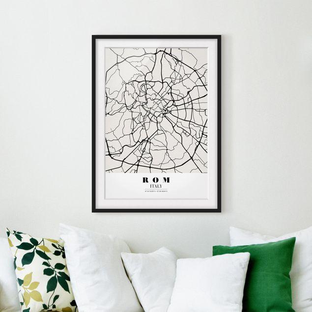 Poster con cornice Rome City Map Classic Verticale 4