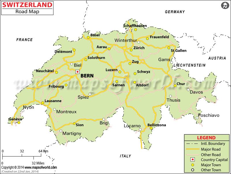 Switzerland Road Map Maps Pinterest Switzerland Capital - Map of italy and switzerland