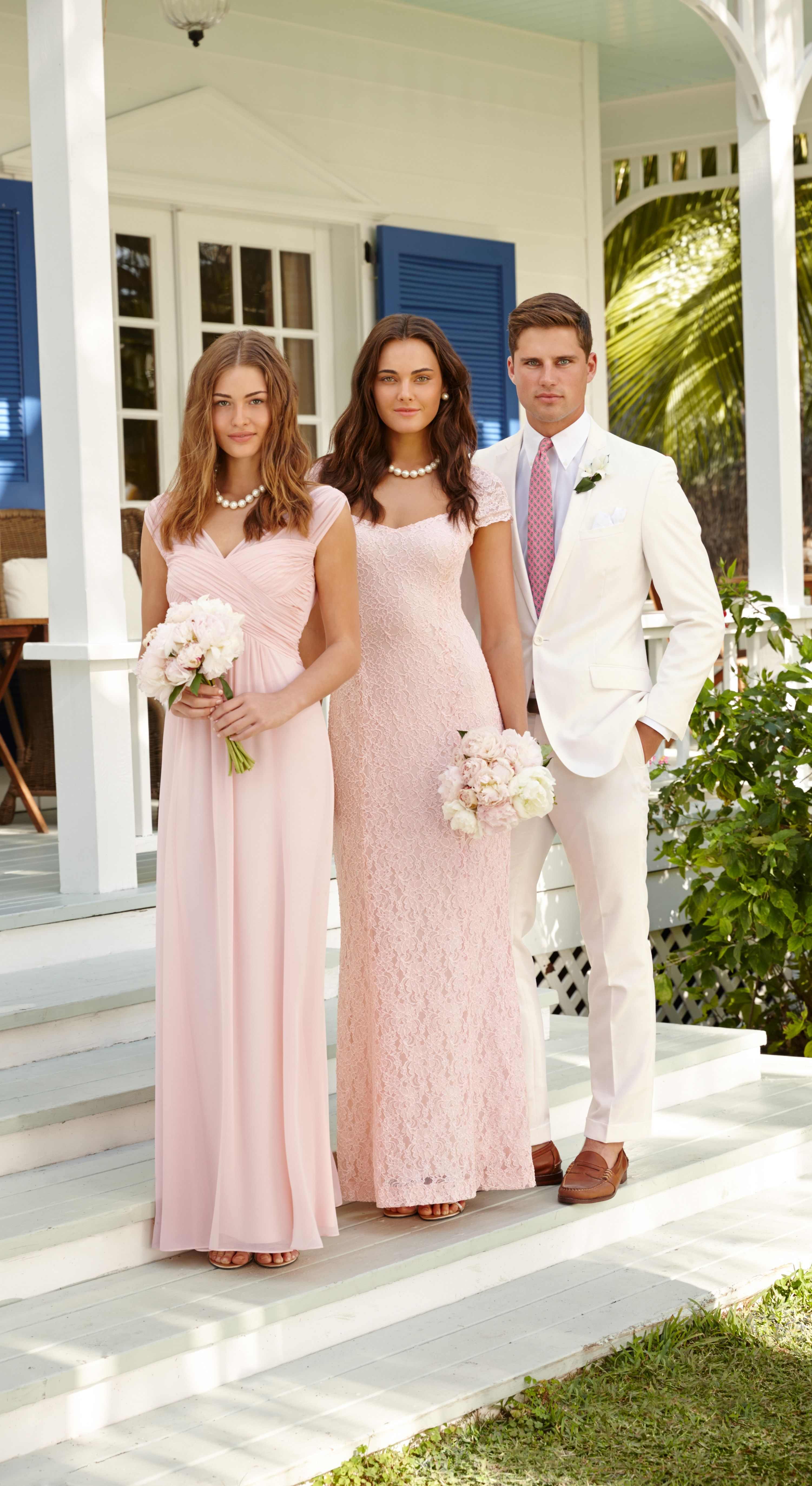 Lauren Ralph Wedding Soft Pink Bridesmaid Dresses And Sharp White Suits Look Elegant Timeless At A Spring