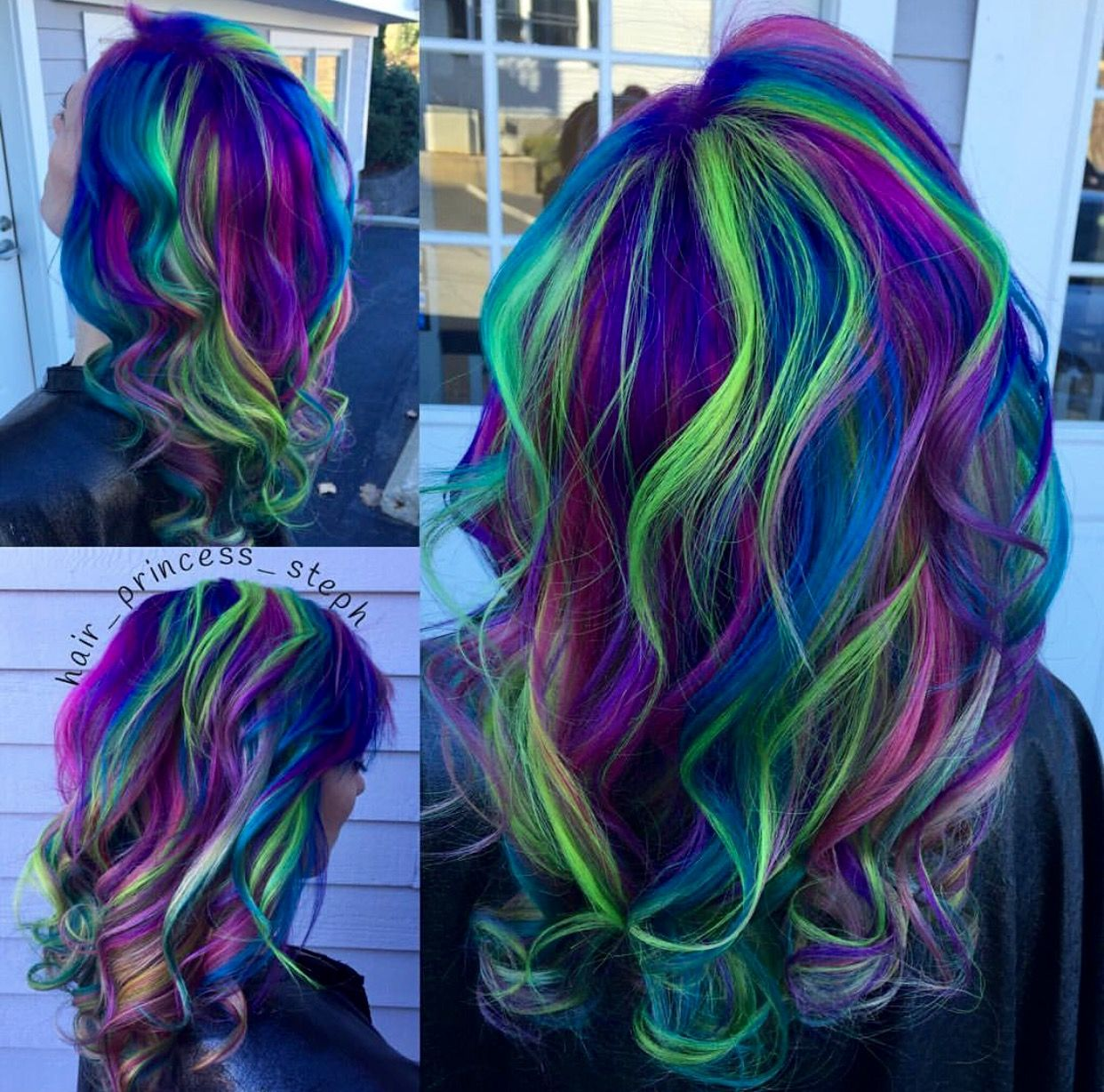 Purple Blue And Green Hair Purple Hair Green Hair Galaxy Hair