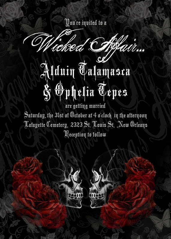 4 Skull Bride /& Groom Personalised Gothic Invitations /& Envelopes