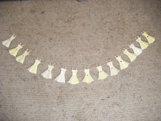 Bunting for a yellow and white themed wedding.