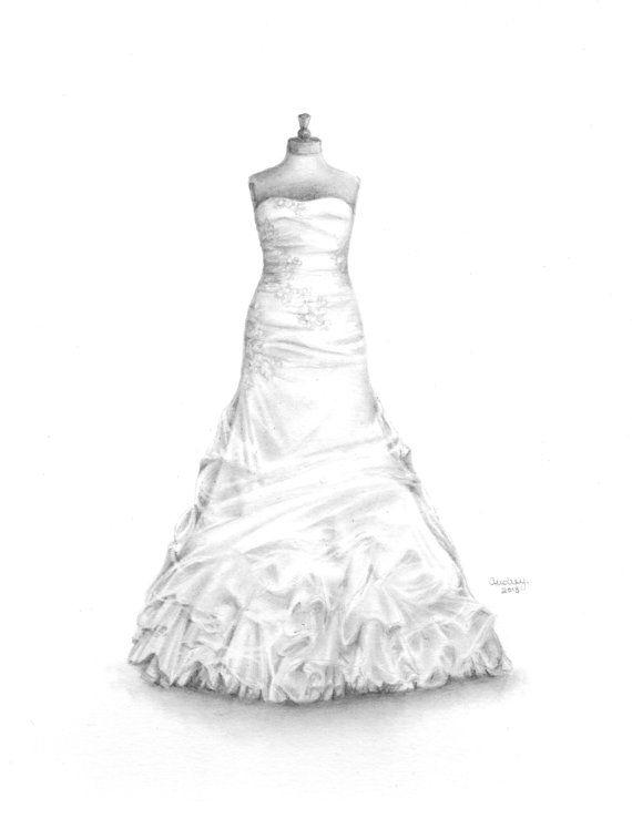Custom Wedding Dress Drawing, Wedding Illustration, Memory Sketch ...