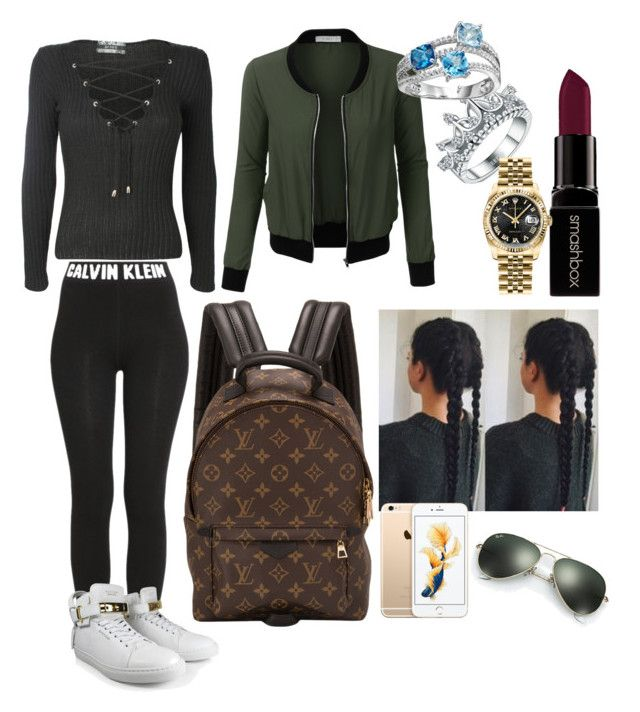 """Casual✌🏽️"" by fxck-its-jordyn on Polyvore featuring Smashbox, LE3NO, Pilot, Calvin Klein, BUSCEMI, Louis Vuitton, Rolex and Ray-Ban"