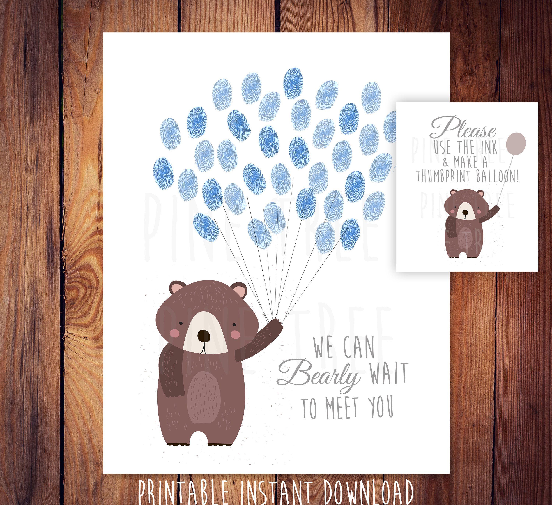 Girls teddy bear baby shower fingerprint guestbook alternative thumbprint balloon guest book girl/'s woodland baby shower Woodland theme