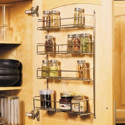 Feeny 4 Tier Spice Rack 10 3 4 Wide Frosted Nickel Amazon Kitchen Dining Kitchen Rack Design Cabinet Door Storage Door Mounted Spice Rack