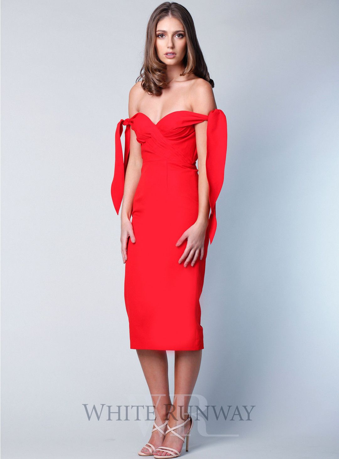 7126fbee6e5f Red Tyler Dress. A gorgeous midi dress by Elle Zeitoune. An off-shoulder  style featuring ruched detail on the bust and ties on the off shoulders.