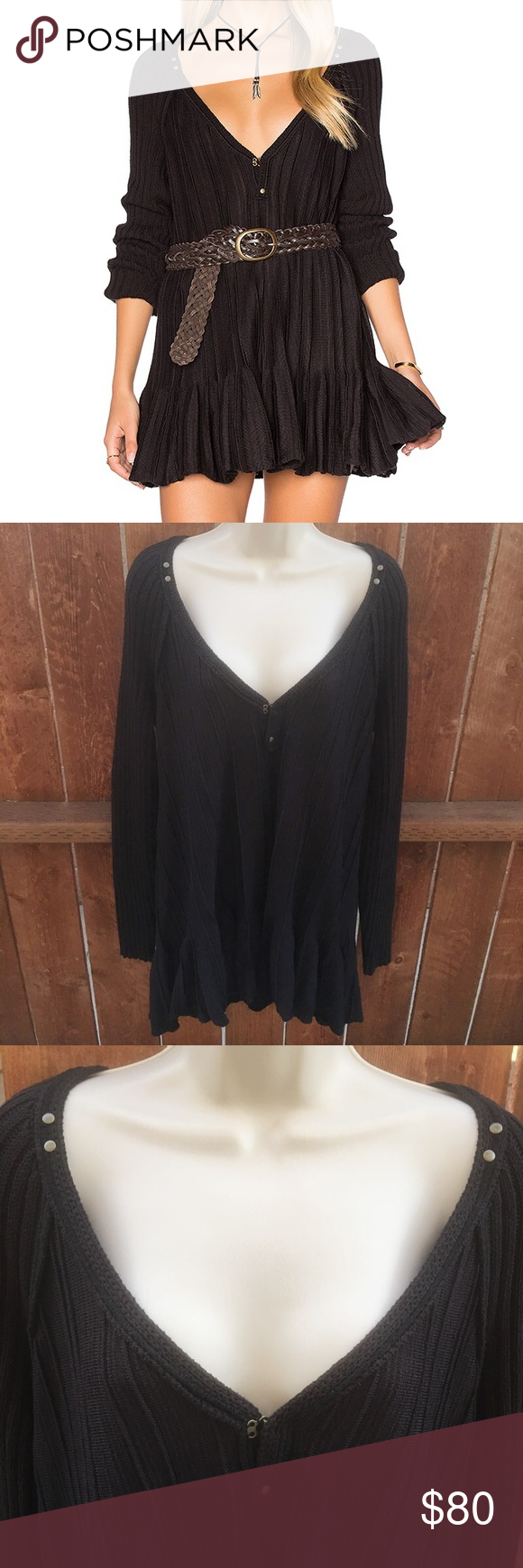 Nwt free people ribs and ruffles black flowy top flowy tops