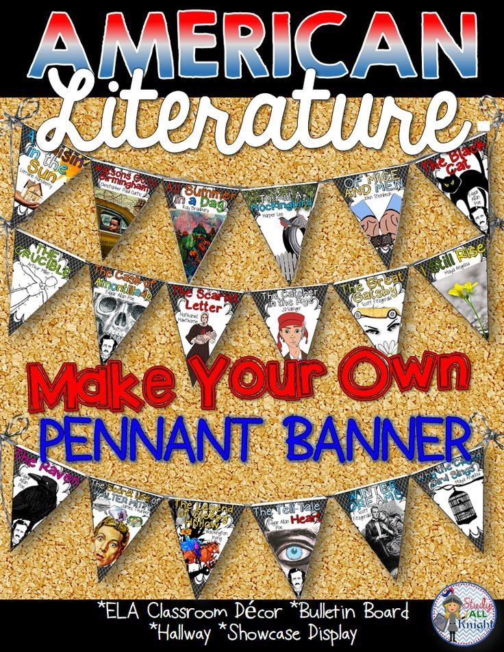 Liven up your classroom! ELA Classroom Decor American Literature Make Your Own Pennant Banner ($)  sc 1 st  Pinterest & Ela classroom decor american literature make your own pennant banner ...