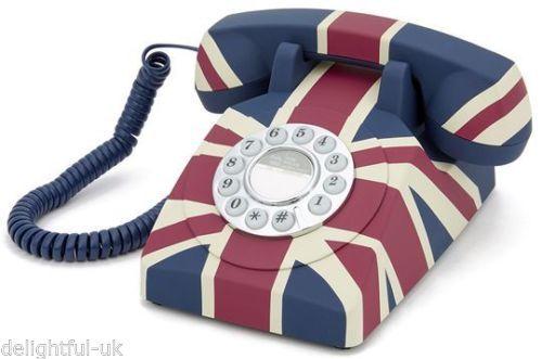 Gpo Push Button Classic Retro British Design Telephone Union Jack Home Phone