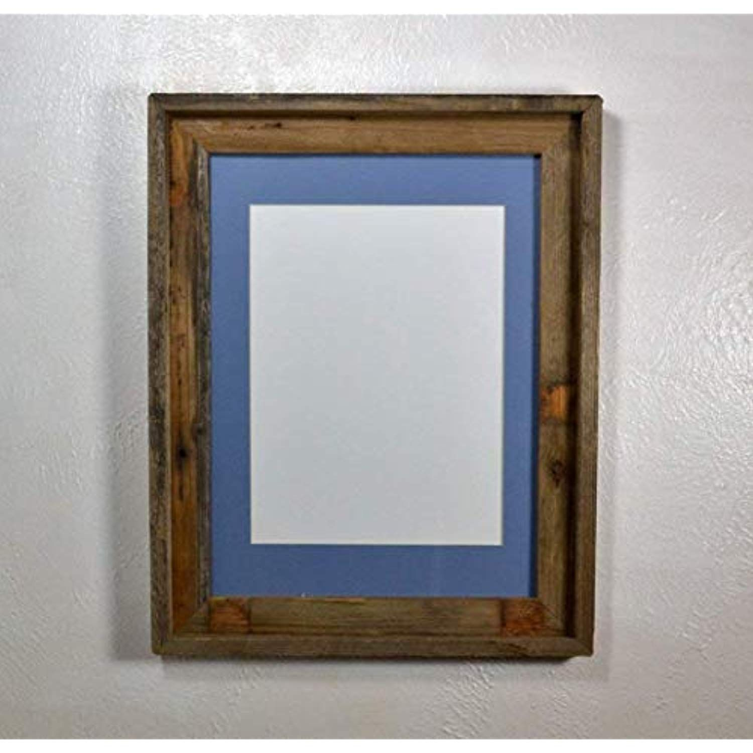 Brown Picture Frame Reclaimed Wood Wall Hung With 8x12 Light Blue Mat And Glass 12x16 Witho Rustic Picture Frames Reclaimed Wood Picture Frames Rustic Pictures