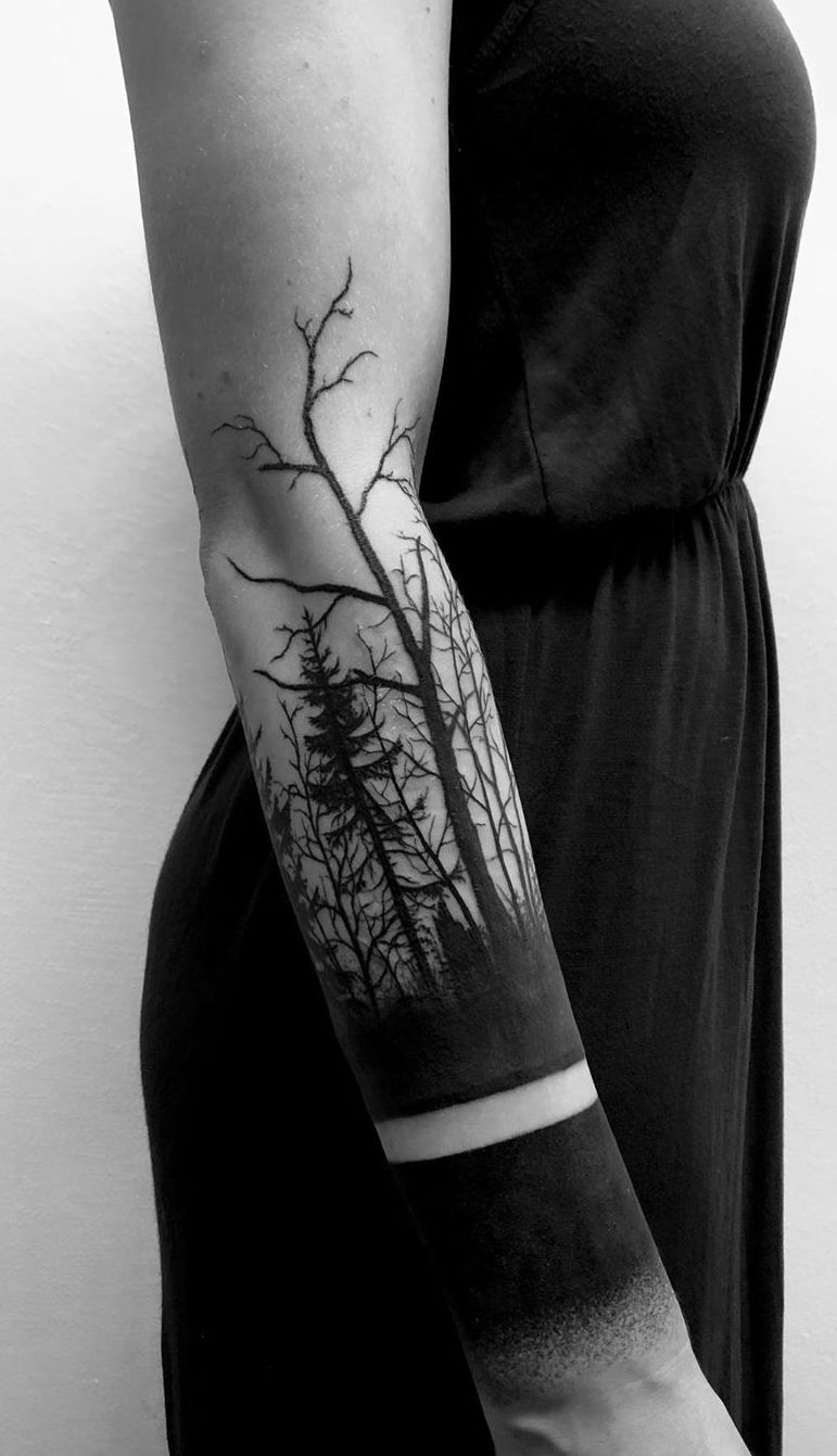Dark Tree Tattoo : tattoo, Gorgeous, Meaningful, Tattoos, Inspired, Nature's, KickAss, Things, Sleeve, Tattoo,, Forest, Forearm, Tattoo, Designs