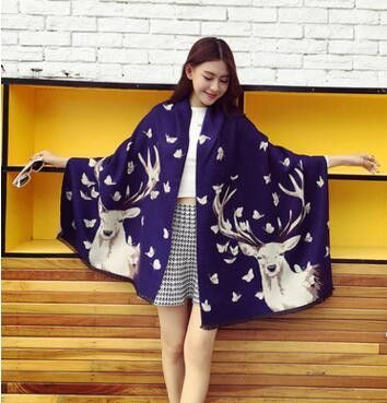 Winter models 2016 Europe and the United States new Christmas elk thick long paragraph warm cashmere Lady Variety shawl scarf