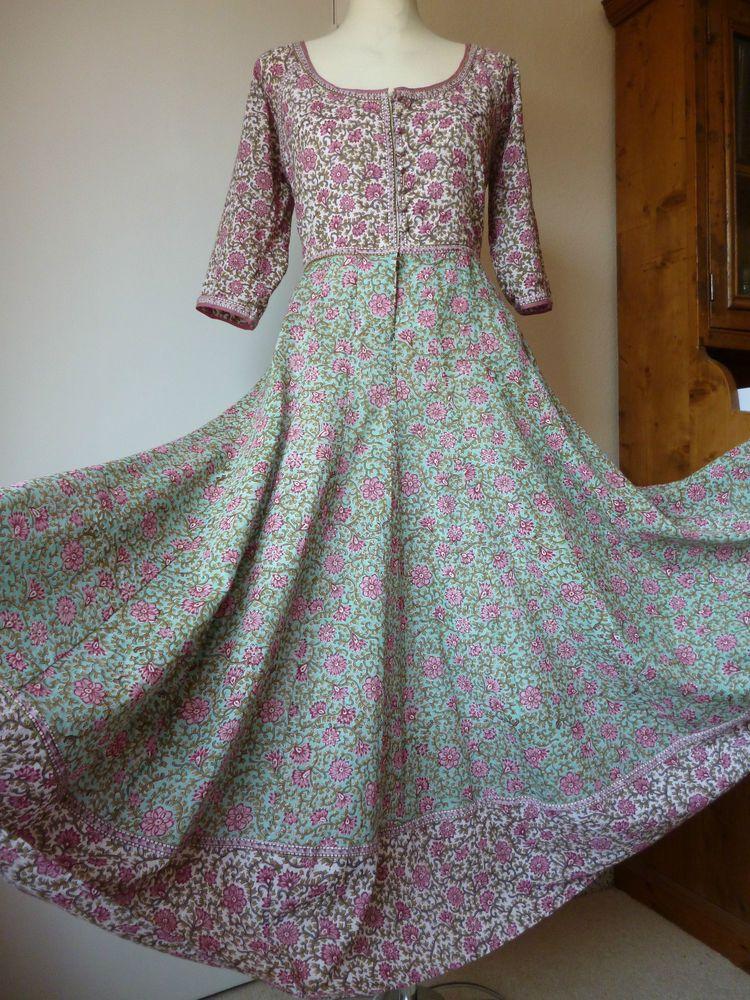 63f5809778 East Artisan Anokhi,Ditsy floral maxi dress,Indian gauze cotton,Hippy Boho,SZ.  L £303.99 (14B)