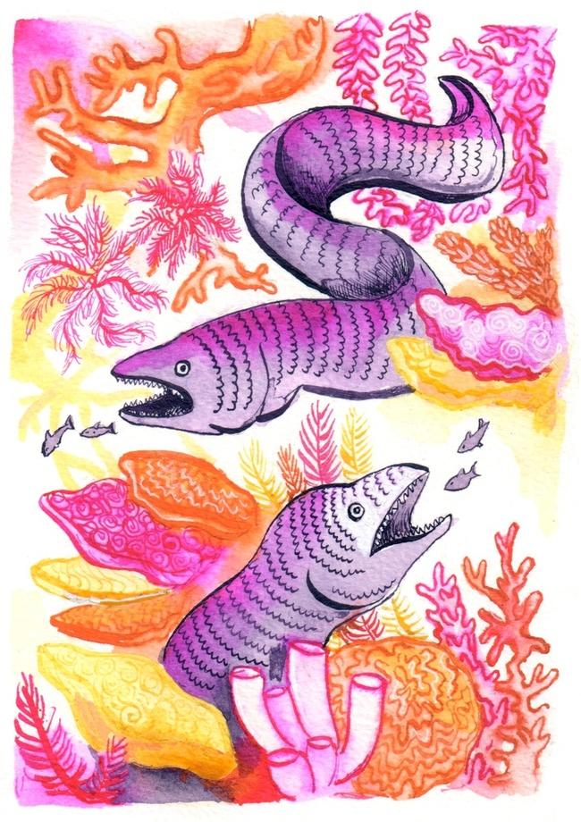 Neon Eels An Art Print By Aimee Lockwood Art Prints Digital Art City Illustration