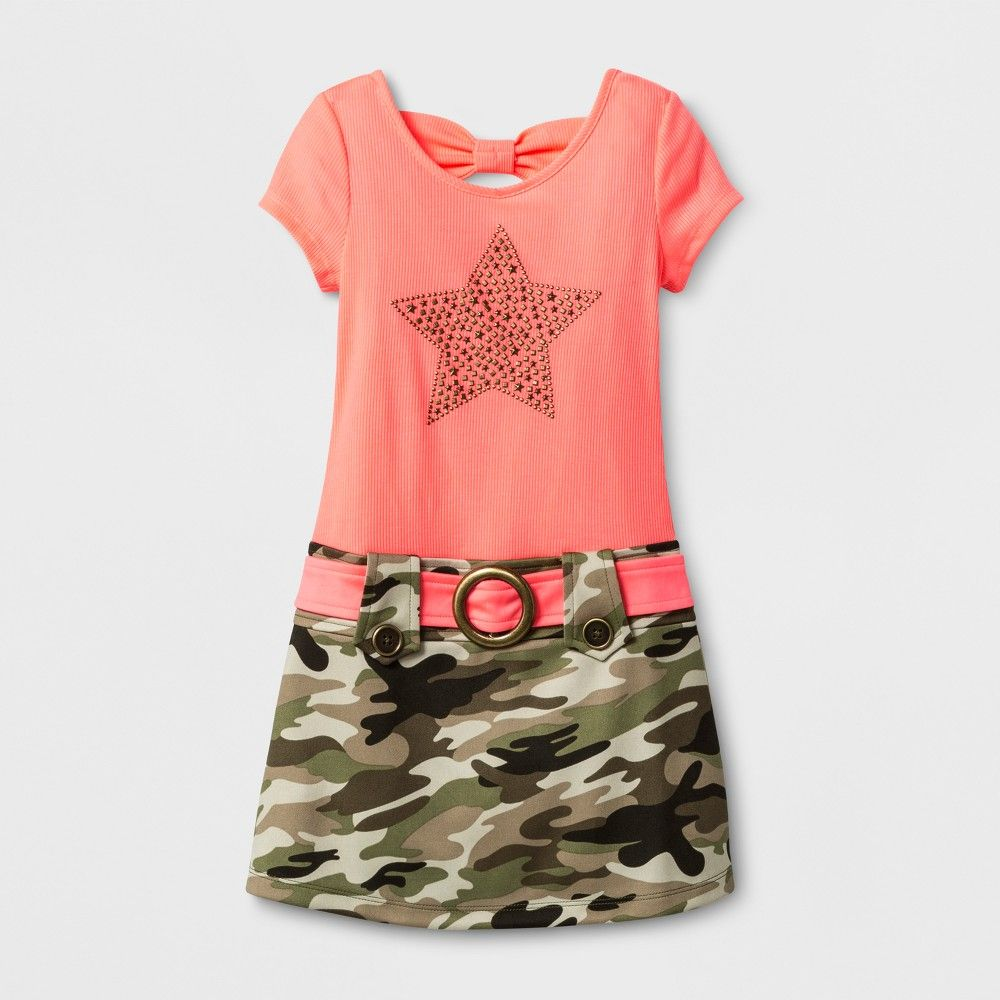 4f11c9e12 Girls' Zenzi Marsha Dress with Star Nailhead and Camo Skirt - Neon Coral  10, Pink