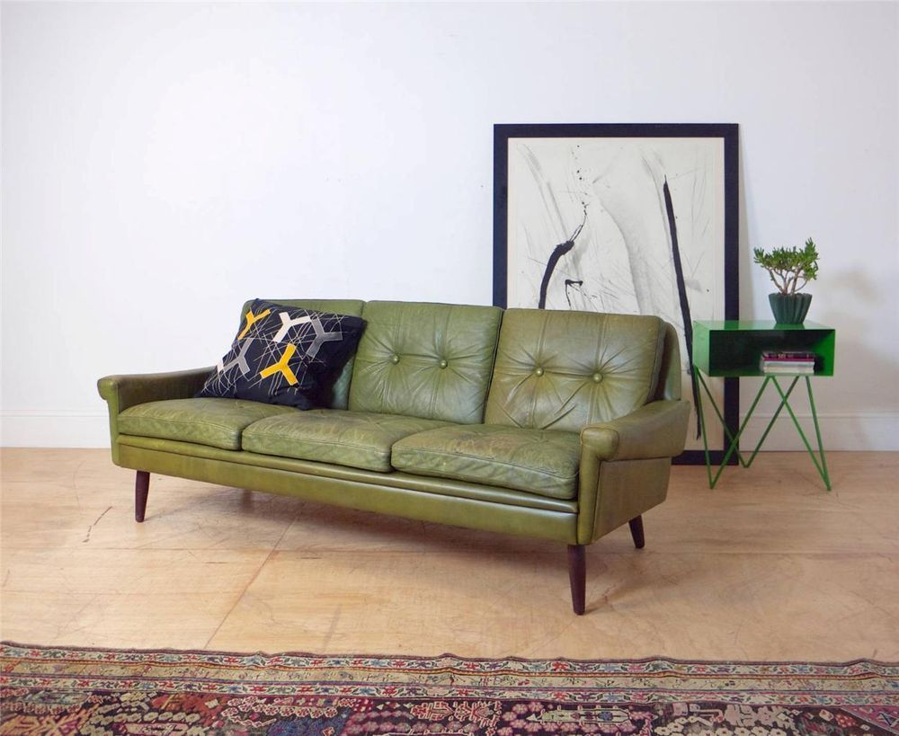 - Danish 1960's Mid Century Green Leather 3 Seater Sofa Settee By