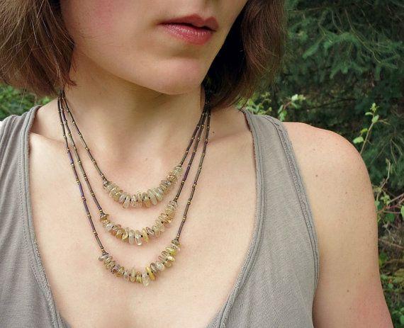 Golden Rutilated Quartz Necklace everyday by ArtifactsEtCetera
