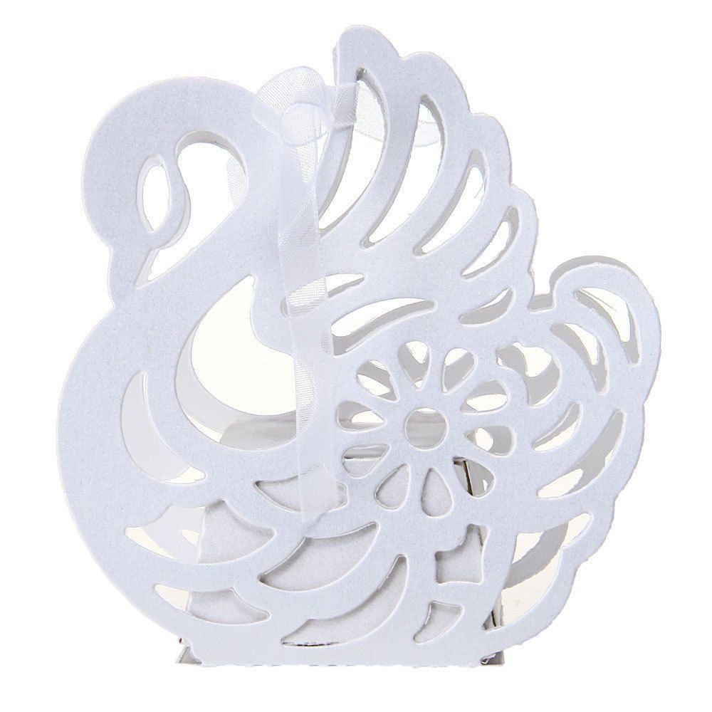 12pcs Wedding Favor Gift Ribbon Candy Boxes Laser Cut Out Swan Party ...