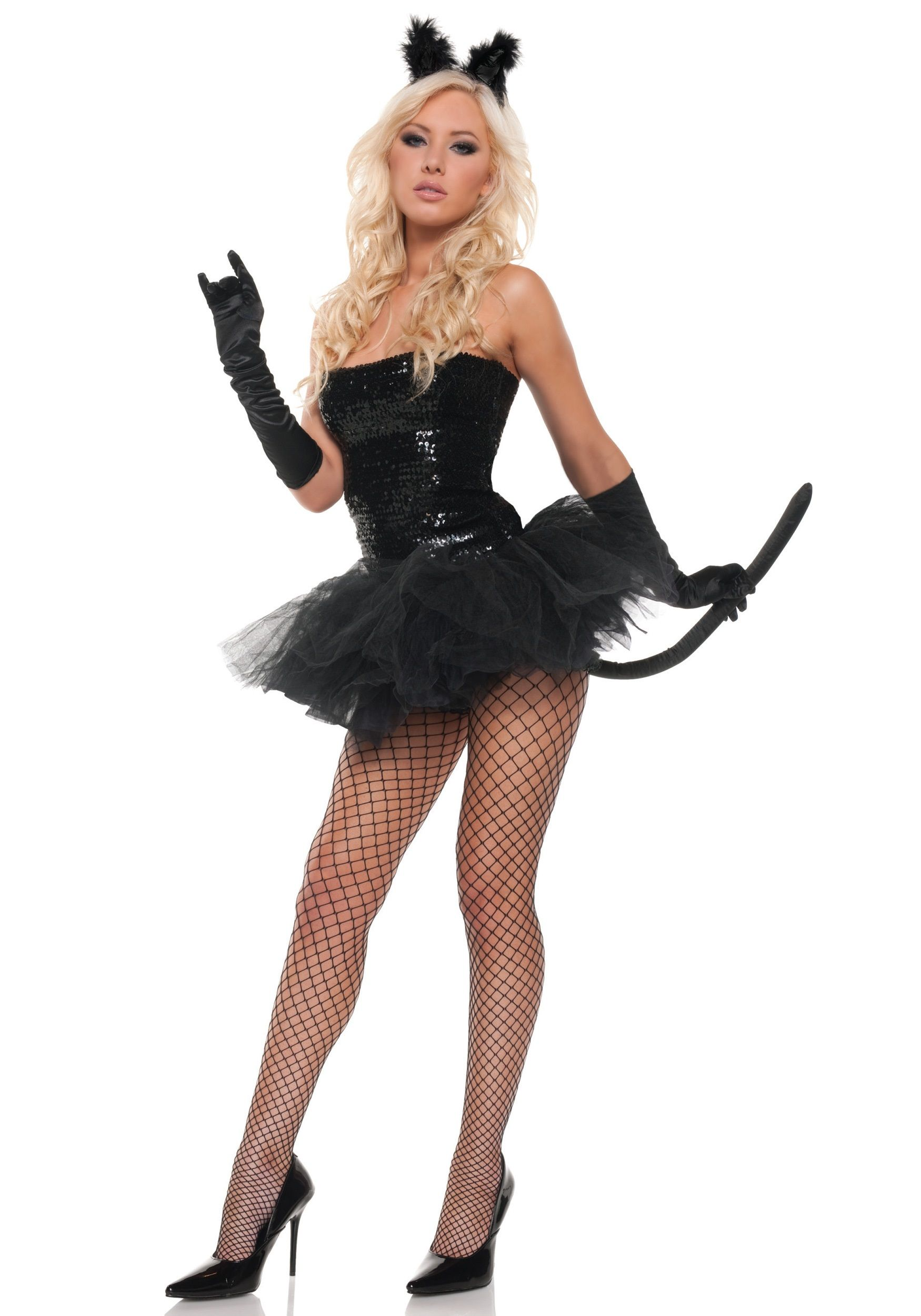 sexy adult sequin kitty costume - Cat Outfit For Halloween