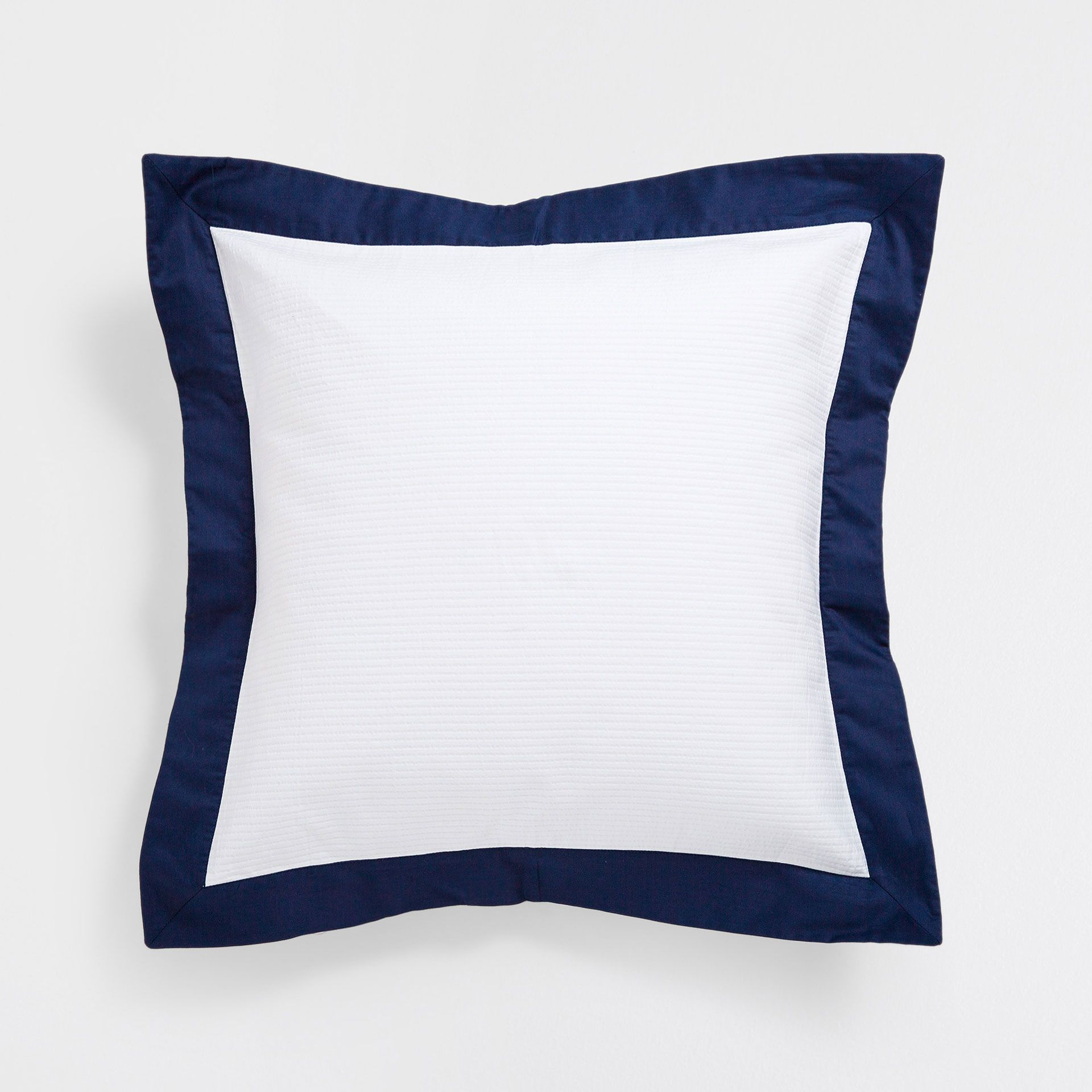 Cotton cushion cover with contrasting blue edge