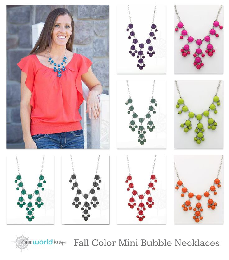 New Fall colors for our Mini Bubble Statement Necklaces on sale for $4.99!