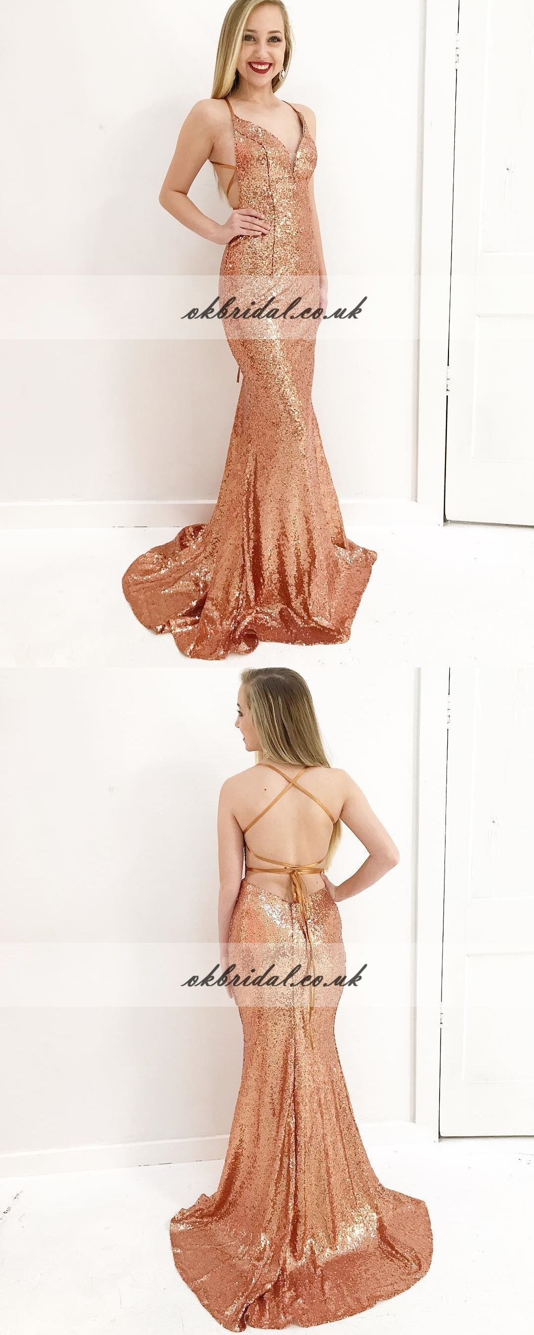 Charming sequin mermaid prom dress spaghetti straps backless prom